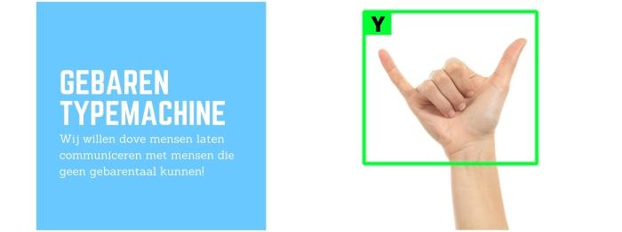 De camera herkent het gebaar, in dit geval een Y
