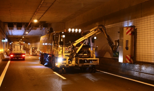 Onderhoudswerkzaamheden in de Waterwolftunnel.