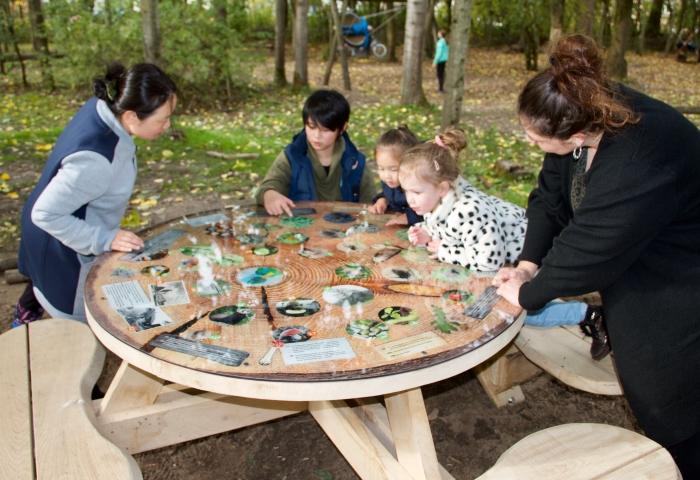 Kinderen bekijken de nieuwe natuurtafel.