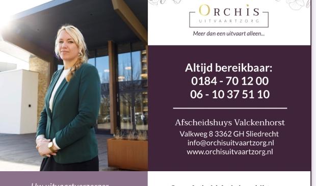 """<p>Orchis Uitvaartzorg<br>Afscheidshuys Valckenhorst<br>Valkweg 8<br>3362 GH Sliedrecht<br>0184-701200, 06-10375110<br><a href=""""mailto:info@orchisuitvaartzorg.nl"""">info@orchisuitvaartzorg.nl</a><br>www.orchisuitvaartzorg.nl</p>"""