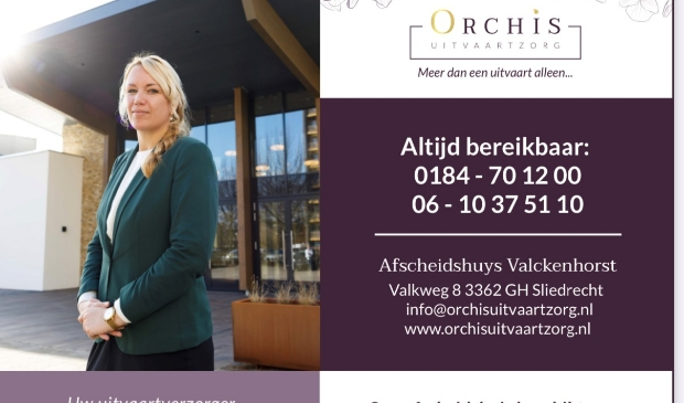 <p>Orchis Uitvaartzorg<br>Afscheidshuys Valckenhorst<br>Valkweg 8<br>3362 GH Sliedrecht<br>0184-701200, 06-10375110<br>info@orchisuitvaartzorg.nl<br>www.orchisuitvaartzorg.nl</p>