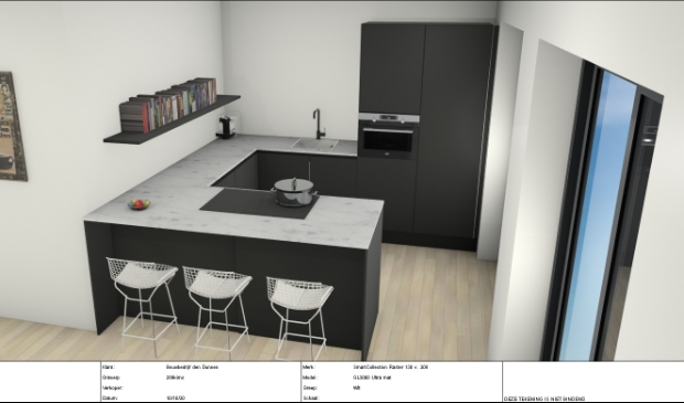 <p>Een 3D ontwerp. Zwart front met marmer blad.</p><p><br></p>