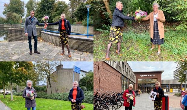 <p>De wethouder bedankt de vier bewoners met een bloemetje voor het aanbrengen van de groene idee&euml;n. Linksboven de heer Breukel, rechtsboven mevrouw Kramer, linksonder mevrouw van Riel en rechtsonder mevrouw Teunissen.&nbsp;</p>