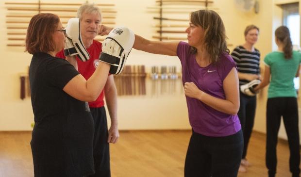 <p>Deelnemers aan de Donkere Dagen Training leren zowel te stoten als af te weren.</p>