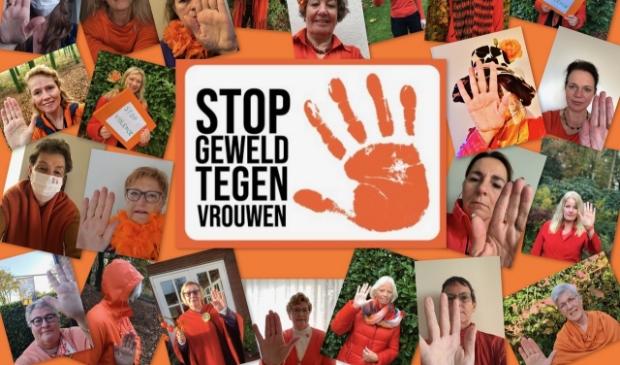 Ruim 20 leden van Soroptimist Club Ede heffen hun hand tegen geweld tegen vrouwen.