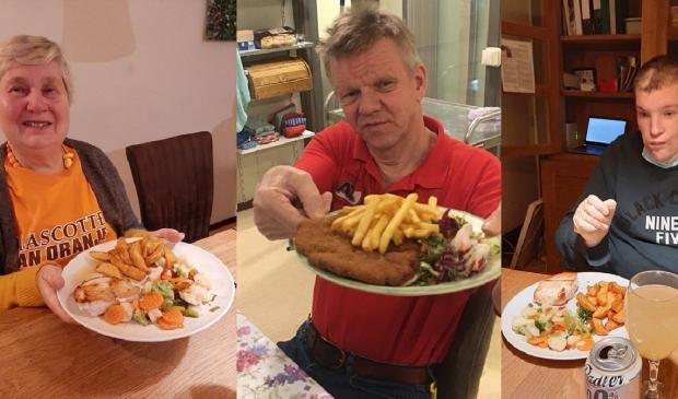 Drie clienten genieten van de maaltijd. Met dank aan Antonio.