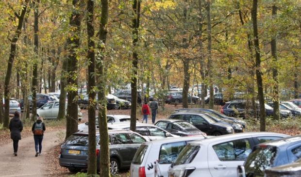 <p>Parkeerplaatsen bij bossen Lage Vuursche (Baarn) waren eerde ook al propvol. </p>