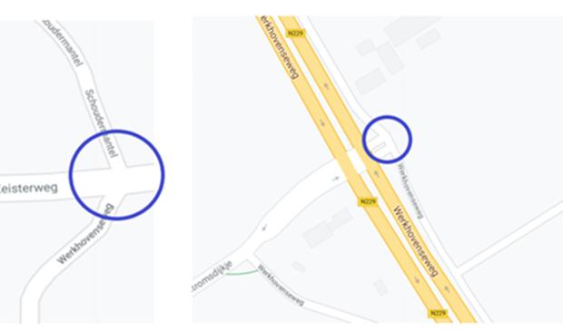 De twee kruisingen waar de provincie een plateau wil aanleggen.  Google Maps, met bewerkingen door de Provincie Utrecht © BDU media