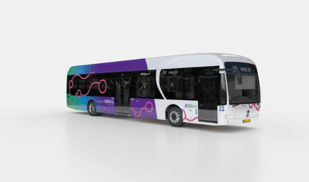 De RRReis bussen kennen twee uitvoeringen: een 'standaard' variant (wit) voor de reguliere stads- en streekbussen en een Hoogwaardige Openbaar Vervoer variant (paars-wit). RRReis © BDU Media
