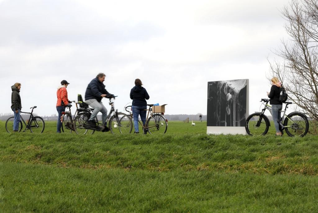 Fietsers bij één van de fotopanelen in het waterrijke gebied tussen Leiden en tulpendorp Roelofarendsveen. Erma Rotteveel © BDU media