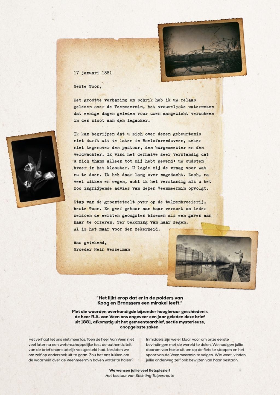 De brief uit 1881 over de Veenmeermin. Stichting De Tulpenroute © BDU media