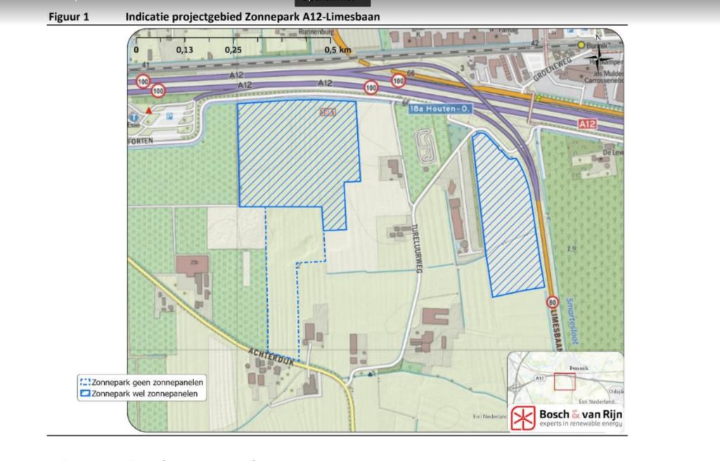 <p>Plattegrond van het Zonnepark A12</p> <p>Screenshot van het plan</p> © BDU media