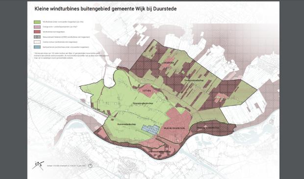 <p>In de groene gebieden zijn mogelijkheden voor kleine windturbines</p>