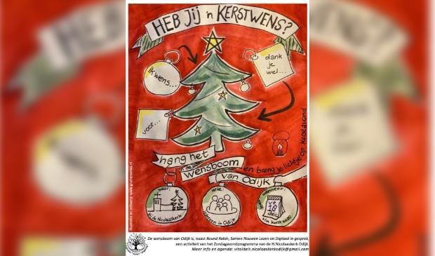 Alle inwoners van Odijk worden uitgenodigd om hier een kerstwens in te hangen of kaarsje bij te branden