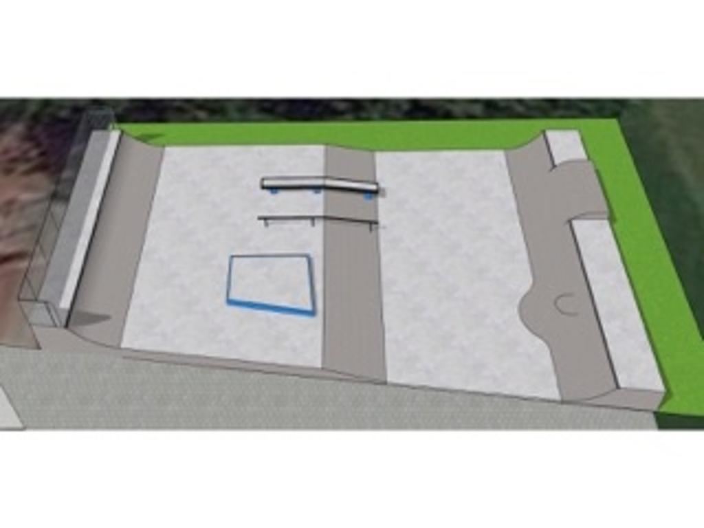 Het ontwerp van de skatebaan in Werkhoven SkateOn Skateparks © BDU media