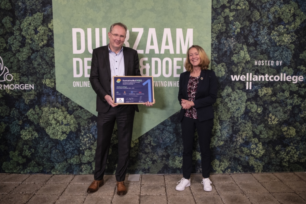 Gabe van der Zee, Wellantcollege; Sandra Pellegrom, SDG Coördinator Nederland  Wellantcollege © BDU media