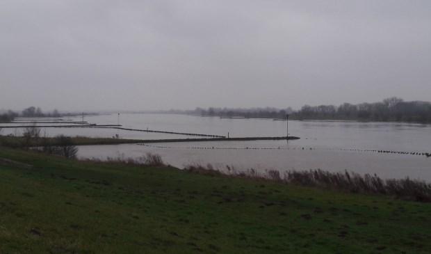 Hoog water afgelopen week in de Lek bij Schalkwijk