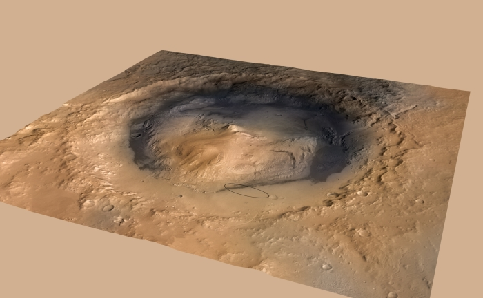 Landingsplaats Curiosity: de Gale Crater op Mars NASA © BDU Media