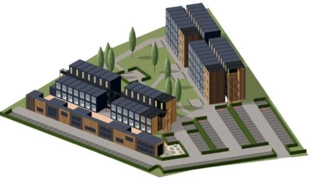 Een ontwerp van het Smeeing-terrein met tijdelijke bewoning.