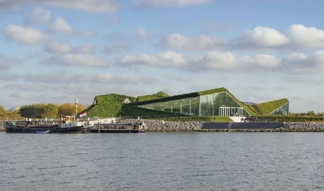 Voorbeeld van een groen dak op het Museumeiland in de Biesbosch