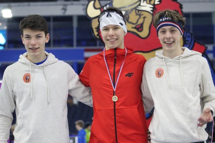 Ward en Mats op het podium 500 meter