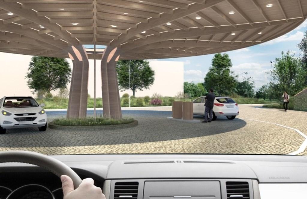 Artist impression van het waterstoftankstation dat medio 2021 op bedrijventerrein De Wieken in gebruik genomen moet gaan worden.