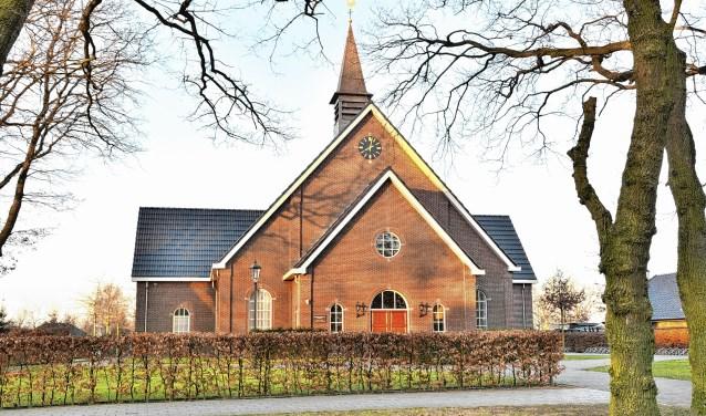 De kerk van de Hersteld Hervormde Gemeente in Harskamp.