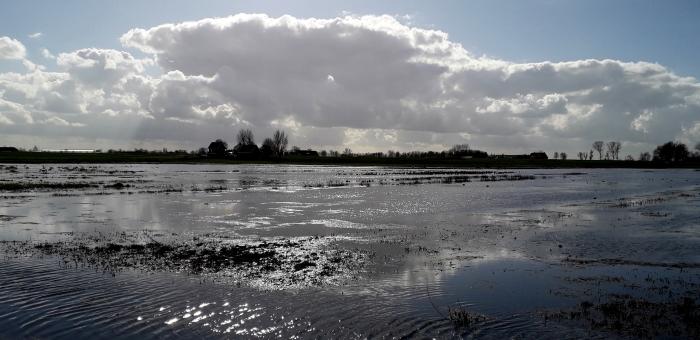 Weerspiegeling wolken in het water op het Landje van Geijsel