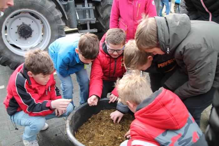 De kinderen bekijken het meegebrachte koeienvoer BDU De Woudenberger © BDU media
