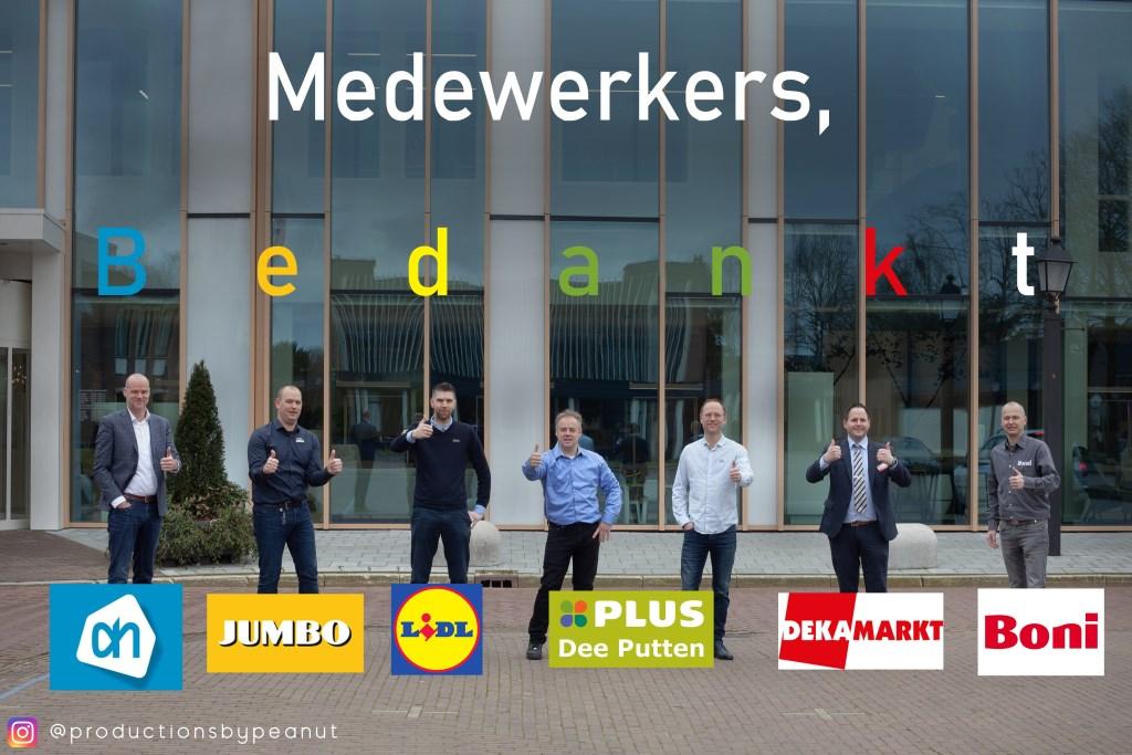 De filiaalleiders en ondernemers van de Puttense supermarkten bedankten vrijdag hun werknemers.  eigen foto © BDU media