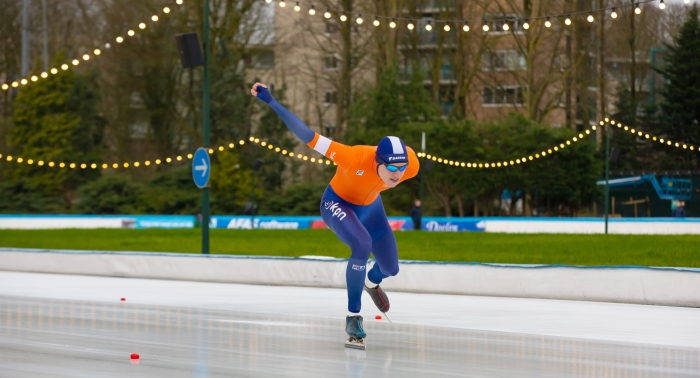 Jan Hein Verhoeff in actie op de 500 meter