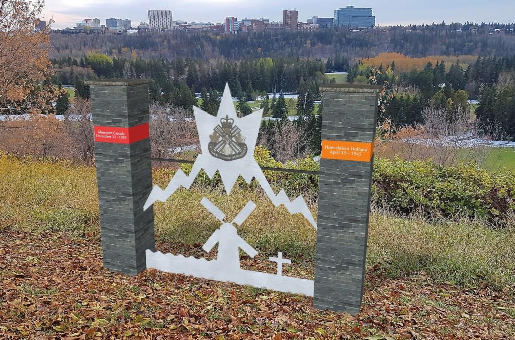 Het vierde, in 2020, door Theo Zuurman ontworpen Oorlogsmonument 'Edmonton – Hoevelaken'.