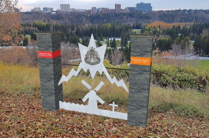 Definitief ontwerp van het WW2 Monument Edmonton – Hoevelaken dat op zaterdag 18 april 2020 in Edmonton Alberta onthuld zou worden.