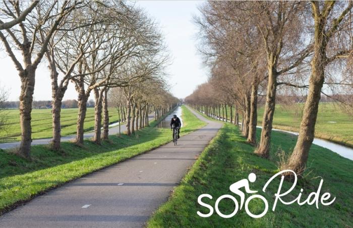 Fietser klimt dijk van de polder Purmer ten noorden van Amsterdam in Nederland op fietspad tussen boomlijnen