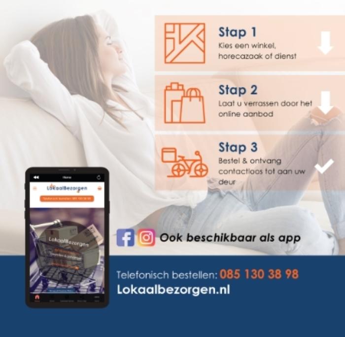 de stappen om te bestellen, app, facebook, instagram, telefoonnummer en website