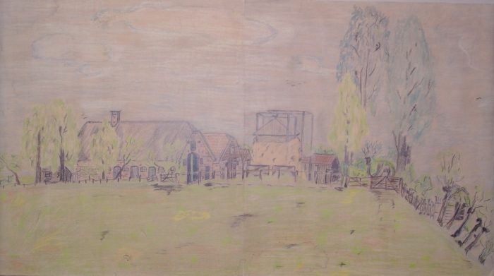 Afbeelding van de boerderij uit het boek, Tekening uit 1943 Wim Kortes © BDU media