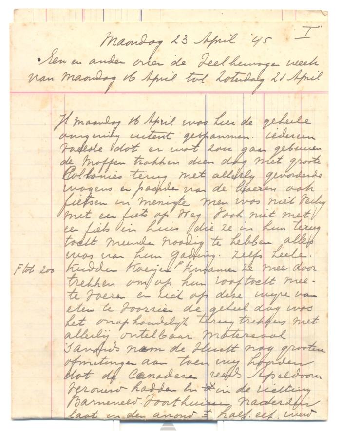 de eerste pagina van 12 geschreven vellen van het verhaal over de bevrijdingsweek van Putten.