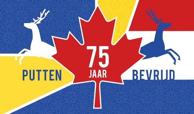 Het ontwerp van de bevrijdingsvlag ter gelegenheid van het 75e bevrijdingsjaar voor Putten.