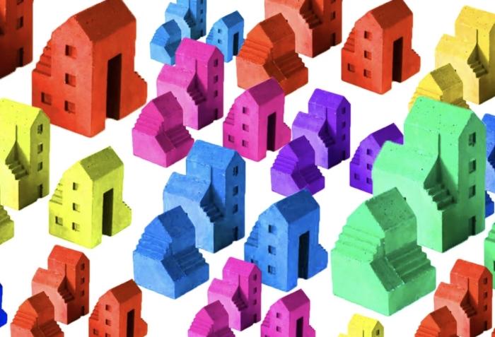 Illustratie van gekleurde huisjes