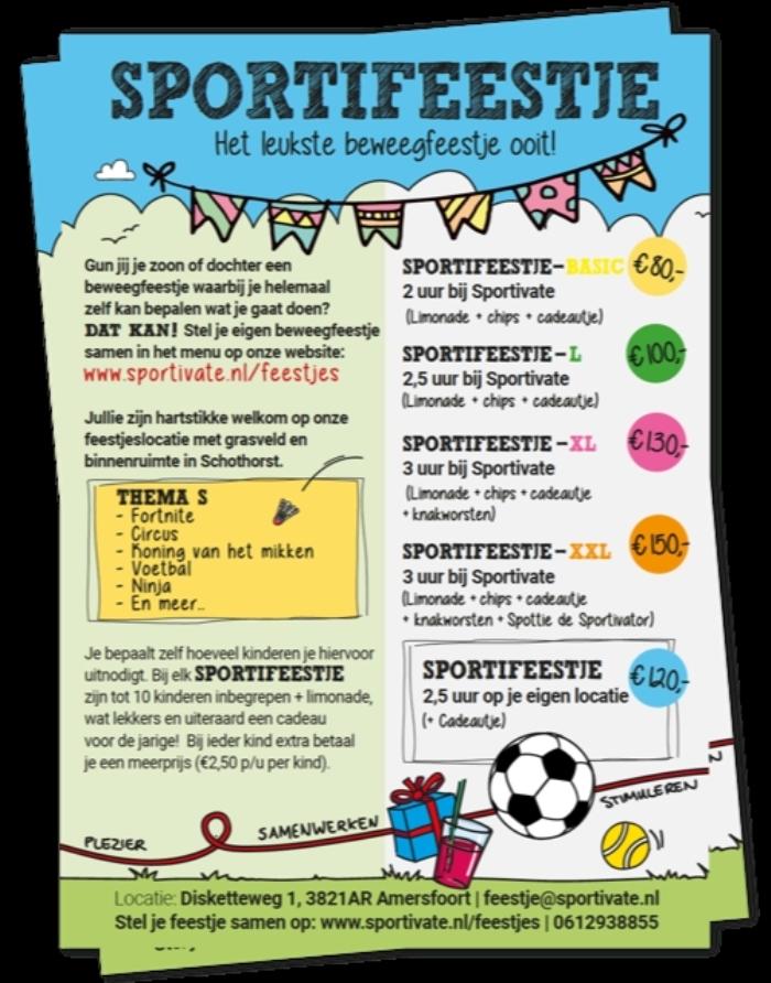 Flyer waarop te zien is wat Sportivate mogelijk maakt voor de beweegfeestjes