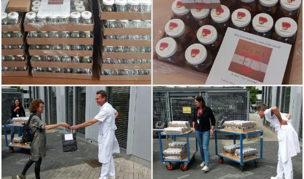 320 potten met lekkers, verwennerij voor het zorgpersoneel