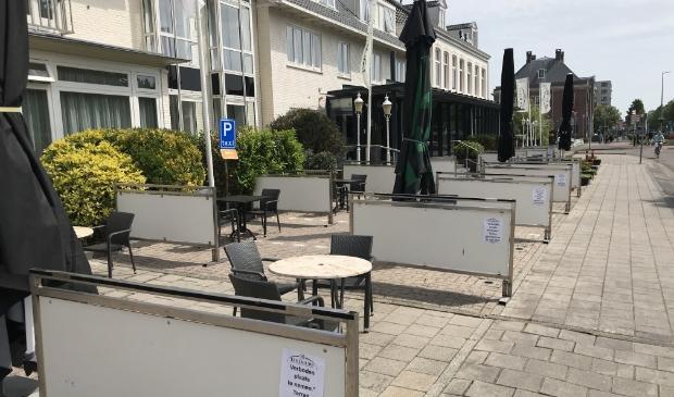 Het terras van Hotel De Beurs is een stuk groter om voldoende ruimte te kunnen bieden.