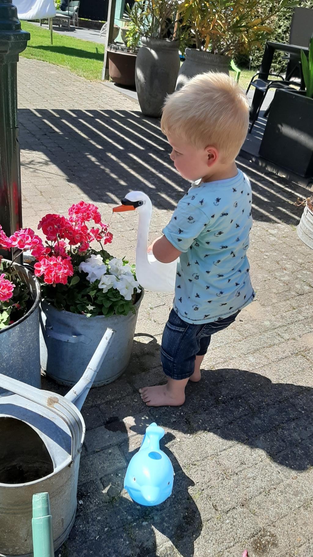 Op deze foto is mijn kleinzoon bezig met zijn  liefste bezigheid, op blote voeten planten water geven bij oma in de tuin. Marriëtte Stomphorst © BDU Media