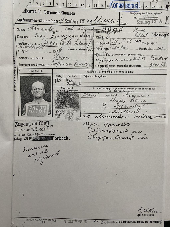 De krijgsgevangenekaart van Isaj Minejev, die jarenlang een Russisch staatsgeheim was. Stichting Sovjet Ereveld © BDU media