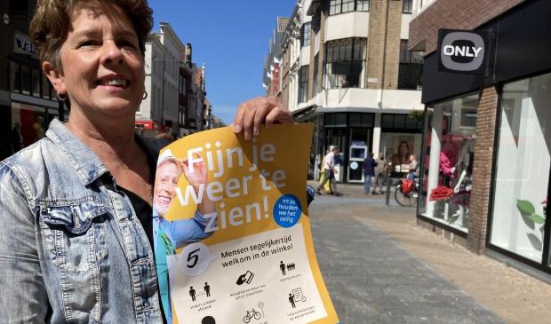 """Binnenstadmanager Nita van Wijngaarden: ,,Er zijn verschillende maatregelen getroffen om 1,5 meter afstand te kunnen houden."""""""