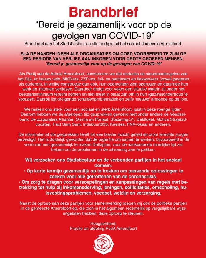 Brandbrief COVID-19 PvdA Amersfoort
