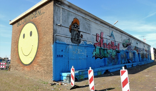Een voorbeeld van de huidige 'street art' op de Viskade.