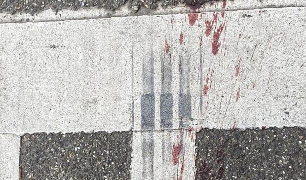 Een van de bloedspoorfoto's die RTV Utrecht toegespeeld kreeg