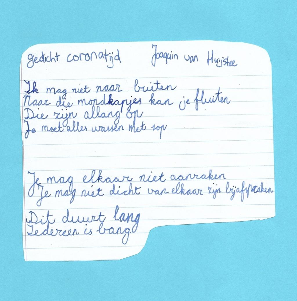 Gedicht van Joaquin van Heijstee, een van de vele inzendingen. Joaquin van Huijstee © BDU media