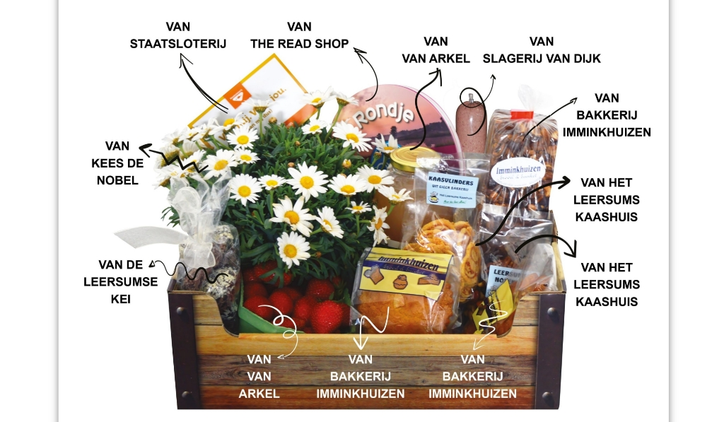 Het streekpakket bevat diverse producten van lokale ondernemers.